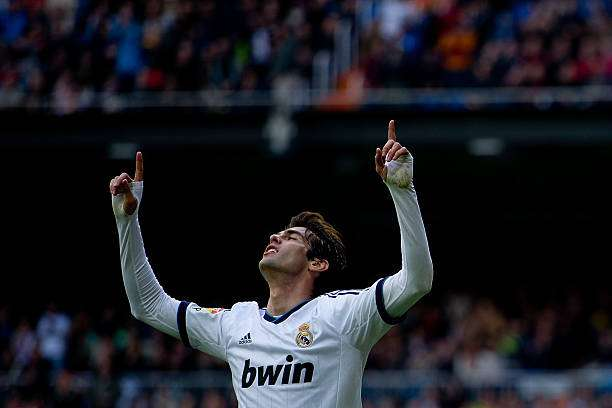 MADRID, SPAIN - APRIL 06: Kaka of Real Madrid CF celebrates scoring their second goal during the La Liga match between Real Madrid CF and Levante UD at Santiago Bernabeu Stadium on April 6, 2013 in Madrid, Spain.  (Photo by Gonzalo Arroyo Moreno/Getty Images)