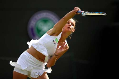 LONDON, ENGLAND - JULY 04: Karolina Pliskova of the Czech Republic serves during the Ladies Singles first round match against Evgeniya Rodina of Russia on day two of the Wimbledon Lawn Tennis Championships at the All England Lawn Tennis and Croquet Club on July 4, 2017 in London, England.  (Photo by Julian Finney/Getty Images)