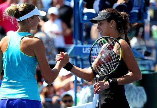 NEW YORK, NY - AUGUST 28:  Karolina Pliskova (L) of the Czech Republic shakes hands with Ana Ivanovic (R) of Serbia after their women's singles second round match on Day Four of the 2014 US Open at the USTA Billie Jean King National Tennis Center on August 28, 2014 in the Flushing neighborhood of the Queens borough of New York City.  (Photo by Streeter Lecka/Getty Images)