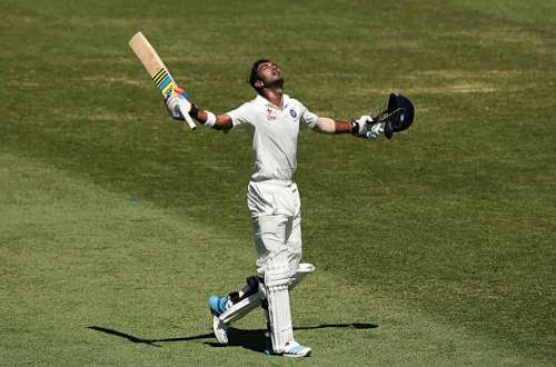 SYDNEY, AUSTRALIA - JANUARY 08:  Lokesh Rahul of India celebrates and acknowledges the crowd after scoring a century during day three of the Fourth Test match between Australia and India at Sydney Cricket Ground on January 8, 2015 in Sydney, Australia.  (Photo by Matt King/Getty Images)
