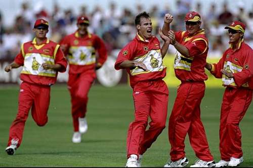 29 May 1999:  Neil Johnson of Zimbabwe celebrates a wicket during the World Cup Group A game against South Africa at Chelmsford in England. Zimbabwe won by 48 runs. \ Mandatory Credit: Phil Cole /Allsport