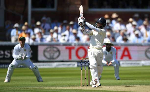 LONDON, ENGLAND - JULY 07:  Moeen Ali of England bats during day two of the 1st Investec Test between England and South Africa at Lord