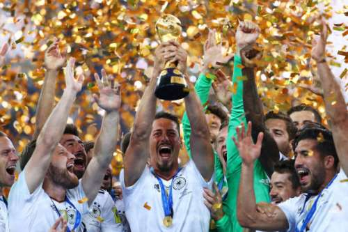 SAINT PETERSBURG, RUSSIA - JULY 02:  Sandro Wagner of Germany lifts the FIFA Confederations Cup trophy after the FIFA Confederations Cup Russia 2017 Final between Chile and Germany at Saint Petersburg Stadium on July 2, 2017 in Saint Petersburg, Russia.  (Photo by Buda Mendes/Getty Images)