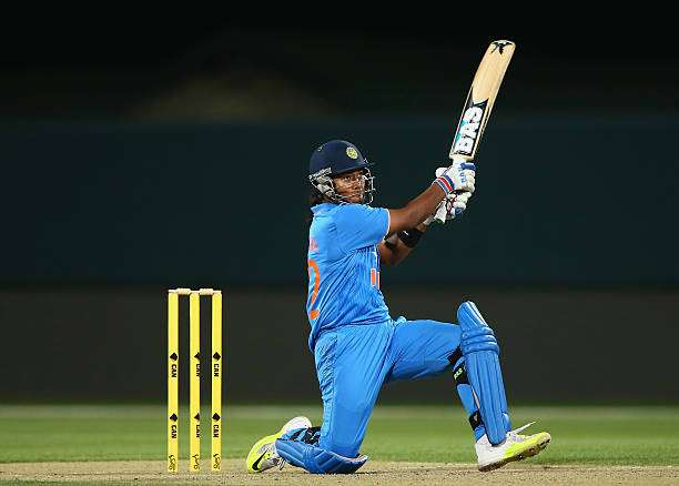 HOBART, AUSTRALIA - FEBRUARY 07: Shikha Pandey of India bats during game three of the one day international series between Australia and India at Blundstone Arena on February 7, 2016 in Hobart, Australia.  (Photo by Robert Cianflone/Getty Images)