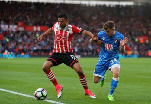 SOUTHAMPTON, ENGLAND - APRIL 01:  Sofiane Boufal of Southampton is tackled by Ryan Fraser AFC Bournemouth during the Premier League match between Southampton and AFC Bournemouth at St Mary's Stadium on April 1, 2017 in Southampton, England.  (Photo by Warren Little/Getty Images)
