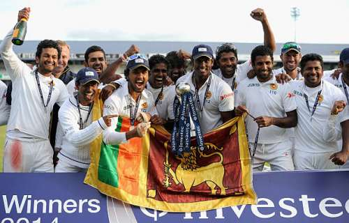 LEEDS, ENGLAND - JUNE 24:  Sri Lanka celebrate winning the 2nd Investec Test match between England and Sri Lanka at Headingley Cricket Ground on June 24, 2014 in Leeds, England.  (Photo by Gareth Copley/Getty Images)