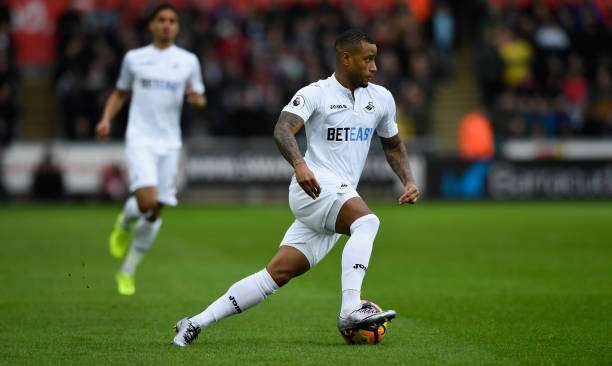 SWANSEA, WALES - MARCH 04:  Swansea player Luciano Narsingh in action during the Premier League match between Swansea City and Burnley at Liberty Stadium on March 4, 2017 in Swansea, Wales.  (Photo by Stu Forster/Getty Images)
