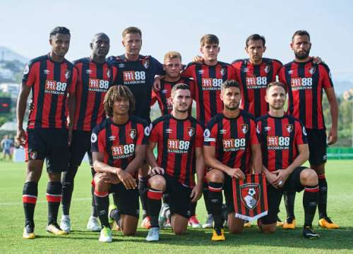 MARBELLA, SPAIN - JULY 15: Team ofAFC Bournemouth pose for a photograph during a Pre Season Friendly match between AFC Bournemouth and Estoril Praia at the Marbella Football Center on July 15, 2017 in Marbella, Spain.  (Photo by Aitor Alcalde/Getty Images)