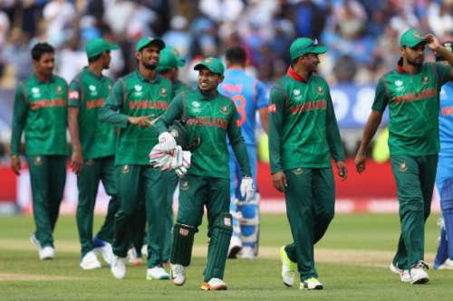 BIRMINGHAM, ENGLAND - JUNE 15:  The Bangladesh team look dejected after their nine wicket defeat during the ICC Champions Trophy Semi-Final match between Bangladesh and India at Edgbaston on June 15, 2017 in Birmingham, England.  (Photo by Michael Steele/Getty Images)