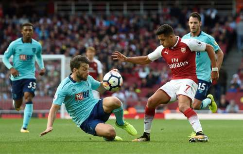 Soccer Football - Premier League - Arsenal vs AFC Bournemouth - London, Britain - September 9, 2017 Arsenal's Alexis Sanchez in action with Bournemouth's Harry Arter. Action Images via Reuters/Alan Walter