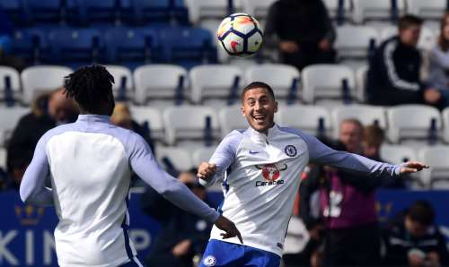 Soccer Football - Premier League - Leicester City vs Chelsea - Leicester, Britain - September 9, 2017 Chelsea's Eden Hazard warms up before the match REUTERS/Rebecca Naden