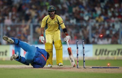 Cricket - India v Australia - Second One Day International Match - Kolkata, India – September 21, 2017 – Australia's Glenn Maxwell is stumped out by India's wicket-keeper Mahendra Singh Dhoni. REUTERS/Adnan Abidi