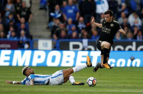 Soccer Football - Premier League - Huddersfield Town vs Leicester City - Kirklees Stadium, Huddersfield, Britain - September 16, 2017 Huddersfield Town's Danny Williams in action with Leicester City's Ben Chilwell REUTERS/Andrew Yates