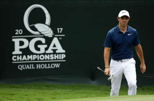 Aug 13, 2017; Charlotte, NC, USA; Rory McIlroy walks onto the 12th green during the final round of the PGA Championship at Quail Hollow Club. Mandatory Credit: Rob Schumacher-USA TODAY Sports