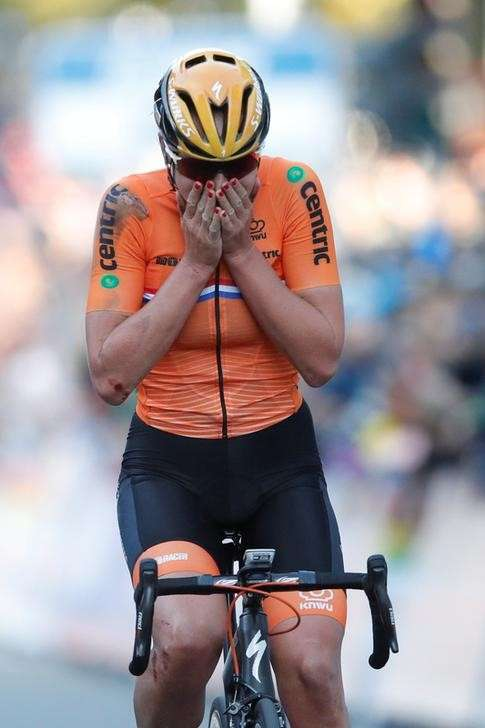 Chantal Blaak of The Netherlands reacts after winning UCI Cycling Road World Championships Women Elite Road Race in Bergen, Norway September 23, 2017. NTB scanpix/Cornelius Poppe/via REUTERS