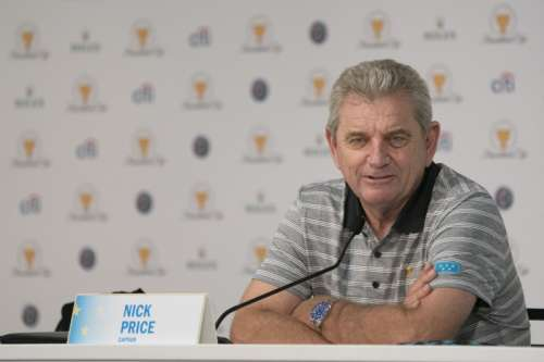 September 26, 2017; Jersey City, NJ, USA; International Team captain Nick Price addresses the media in a press conference during the practice round of The Presidents Cup golf tournament at Liberty National Golf Course. Kyle Terada-USA TODAY Sports