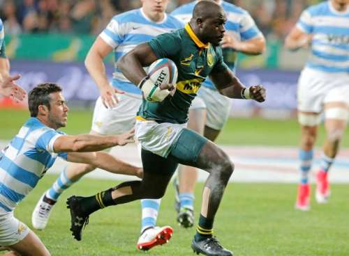Rugby Union - South Africa v Argentina - Mandela Bay Stadium, Port Elizabeth, South Africa - August 19, 2017 - South Africa's Raymond Rhule runs with the ball. REUTERS/Mike Hutchings