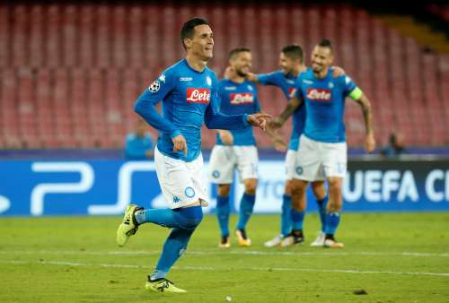 Soccer Football - Champions League - SSC Napoli vs Feyenoord - Stadio San Paolo, Naples, Italy - September 26, 2017 Napoli's Jose Callejon celebrates scoring their third goal REUTERS/Ciro De Luca