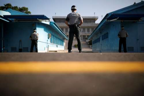 South Korean soldiers stand guard at the truce village of Panmunjom, South Korea, September 28, 2017. REUTERS/Kim Hong-Ji