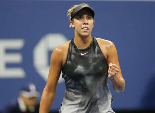 Sep 4, 2017; New York, NY, USA; Madison Keys of the United States celebrates after winning the first set of her match against Elina Svitolina of Ukraine on day eight of the U.S. Open tennis tournament at USTA Billie Jean King National Tennis Center. Mandatory Credit: Jerry Lai-USA TODAY Sports