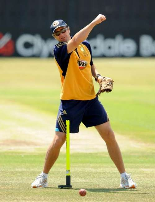 FILE PHOTO: Australia's cricket bowling coach Troy Cooley gestures during a training session at the County Ground in Hove, East Sussex, England, June 22, 2009. REUTERS/Philip Brown/Files