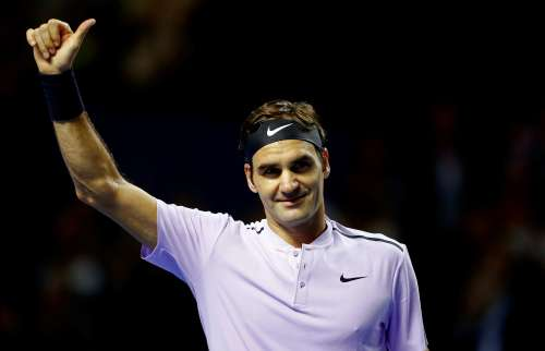 Tennis - ATP 500 - Swiss Indoors Basel - semi-finals - St. Jakobshalle, Basel, Switzerland - October 28, 2017 - Roger Federer of Switzerland reacts after winning his match against David Goffin of Belgium. REUTERS/Arnd Wiegmann
