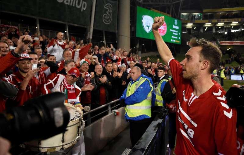 6d4e0812c05 Soccer  Hat-trick hero Eriksen books Denmark s World Cup spot