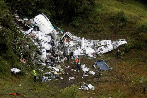 Wreckage from a plane that crashed into Colombian jungle with Brazilian soccer team Chapecoense, is seen near Medellin, Colombia, November 29, 2016. REUTERS/Fredy Builes/Files