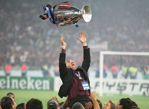 Carlo Ancelotti with the cup