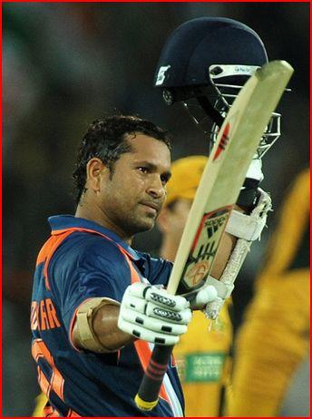 Sachin Tendulkar waving to the crowd after his 200