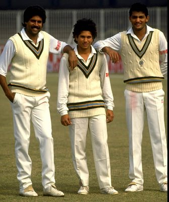 Sachin Tendulkar with Kapil Dev and Mohammad Azharuddin