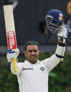 Virender Sehwag reached his 21st century with a boundary