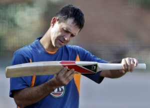 Ponting inspecting his bat
